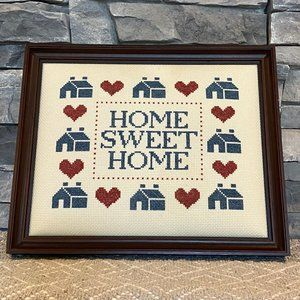 Vintage Hand-stitched Needlepoint Home Sweet Home